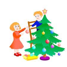 Free Children Preparing The Christmas Tree Stock Photography - 16864812