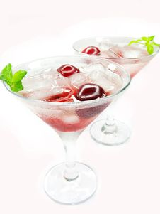 Free Alcohol Liqueur Cocktail With Cherry Royalty Free Stock Photos - 16864868