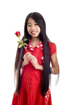 Free Asian Teenager Holding A Rose Stock Images - 16865094