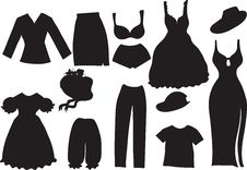 Free Silhouettes Of Women Clothes Royalty Free Stock Photos - 16865268