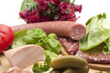 Free Salamis And Gherkins Royalty Free Stock Images - 16865319