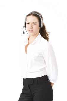 Free Young Beautiful Business Woman Using Head Phone Stock Photos - 16866243