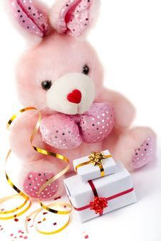 Toy Pink Rabbit With Gifts Royalty Free Stock Photo