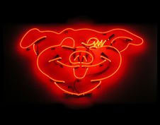 Free Illuminated Pig Neon Sign For Butcher Shop Stock Photos - 16867143