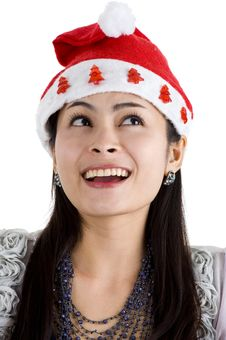Free Woman With Santa Claus Hat Royalty Free Stock Images - 16867209