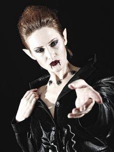 Portrait Of A Beautiful Fashion Vampire Stock Photo