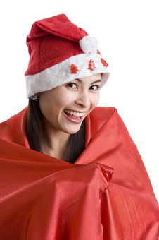 Woman With Santa Claus Hat Royalty Free Stock Images