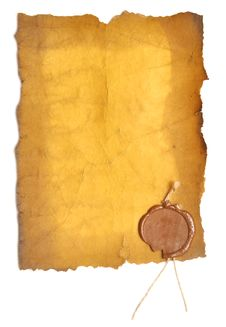 Free Old Paper With A Wax Seal Royalty Free Stock Photos - 16868068