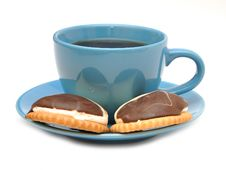 Cup Of Tea And Some Cookies Stock Images