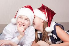 Free Happy Children In Santa Hat Royalty Free Stock Photo - 16869375