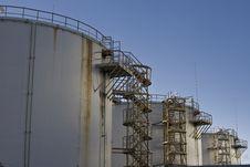 Three Fuel Silos Stock Photo