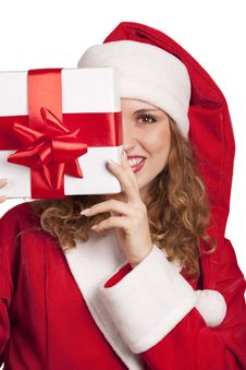 Free Smiling Santa Emerge From Behind A Gift Box Royalty Free Stock Images - 16869829