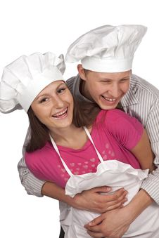 Free Young Loving Couple Cooks. Stock Photos - 16869883