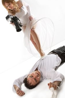 Free Bride Taking Picture Of Her Groom Royalty Free Stock Photography - 16869957