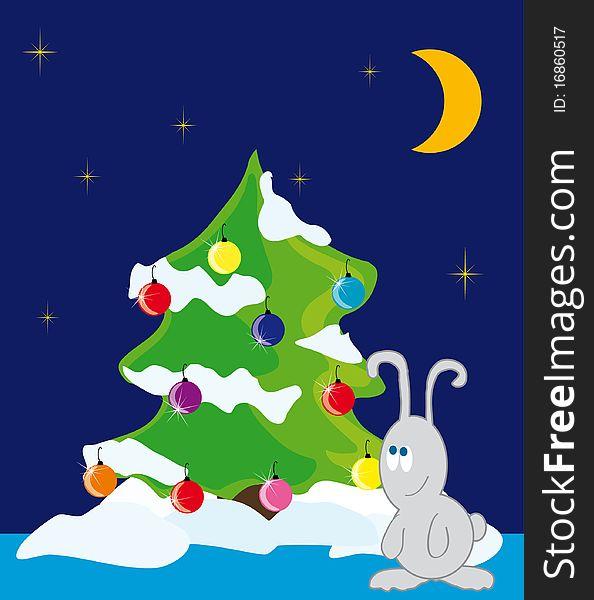 Rabbit under the Christmas tree