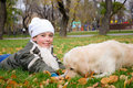 Free Boy Playing In Autumn Park Stock Image - 16879281