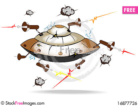 Free Alien Spaceship Under Attack Royalty Free Stock Image - 16877726