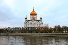 The Bright Moscow Temple Of Christ The Savior Royalty Free Stock Image