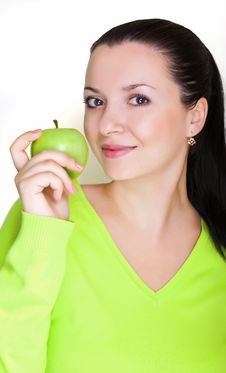 Free Beautiful Young Woman With A Green Apple Stock Photography - 16872152