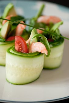 Cucumber And Prawn Rolls Stock Image