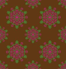 Free Brown Background With Abstract Flowers. Royalty Free Stock Photography - 16872467