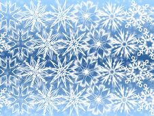 White Snowflakes On Blue Background Stock Photography