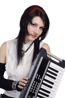 Free Beautiful Girl With Synthesizer Isolated Stock Photo - 16878080