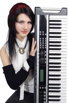 Free Beautiful Girl With Synthesizer Isolated Stock Image - 16878091