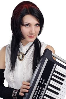 Free Beautiful Girl With Synthesizer Isolated Stock Photography - 16878092