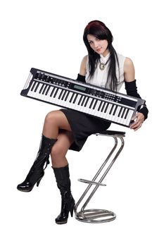 Free Beautiful Girl Sitting With Synthesizer Isolated Stock Images - 16878094