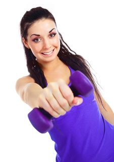 Free Girl With Dumbbells Stock Photography - 16878612