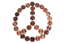 Peace Symbol Made From Pennies On White Background Stock Image