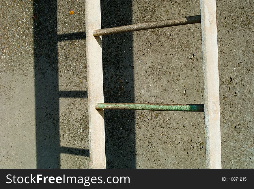 Ladder bolted to a wall