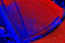 Free Heart Shape And Spiral Carving Appearance On Rusted Dirty Unknown Car. The Pop Art Or Little Graffiti Inscription On Abandoned Car Stock Photos - 168769243