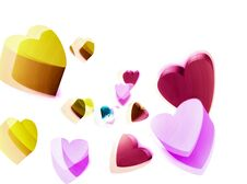 Charming Vivid 3d Hearts Gathering On White Background Layout. Dice Or Cubes Similar Shapes. Candy Colors Of Yellow, Pink, Purple Royalty Free Stock Photos