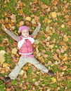 Free Little Girl At Grass And Leafs In The Park. Royalty Free Stock Image - 16883296
