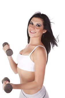 Free Woman Working With Weights Sports Bra Royalty Free Stock Photos - 16880238