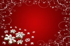 Free Christmas Card Red Stars And Flowers Royalty Free Stock Image - 16880926
