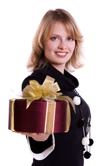 Free Woman With Gift Stock Image - 16881641