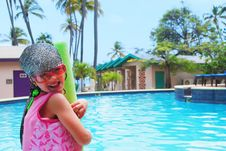 Little Girl And Pool Royalty Free Stock Photos