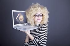 Free Portrait Of Funny Girl In Blonde Wig With Laptop Stock Image - 16882811