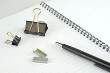 Free Empty Spiral Notebook With Paper Clip, Pencil And Royalty Free Stock Photo - 16882945