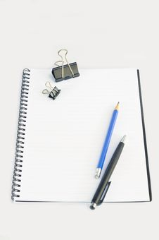 Free Empty Spiral Notebook With Paper Clip, Pencil And Stock Image - 16882961