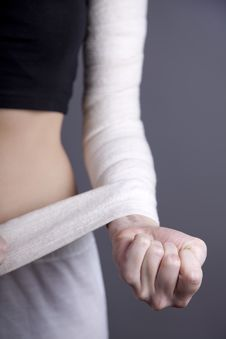 Strong Girl S Body With With Elastic Bandage Stock Photo