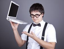 Men In Suspender With Notebook. Royalty Free Stock Images