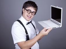Men In Suspender With Notebook. Royalty Free Stock Photos