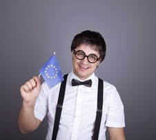 Free Funny Men Keeping European Union Flag. Stock Photos - 16883093