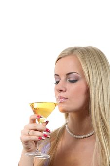 Free Blond In A Dress Drink Martini Royalty Free Stock Photo - 16883395