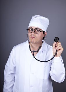 Free Crazy Doctor With A Stethoscope. Royalty Free Stock Images - 16883589