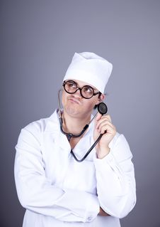 Free Crazy Doctor With A Stethoscope. Royalty Free Stock Photo - 16883625